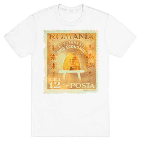 Romanian Bee Stamp Mens T-Shirt