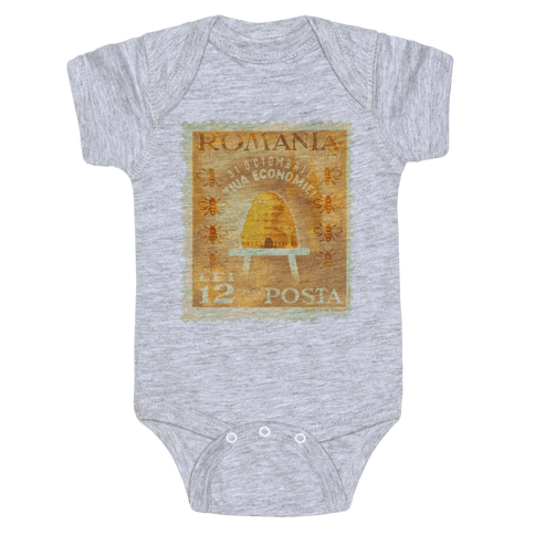Romanian Bee Stamp Baby Onesy