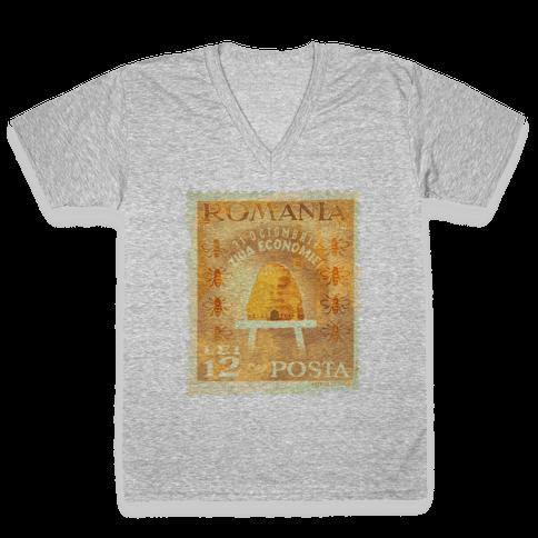 Romanian Bee Stamp V-Neck Tee Shirt