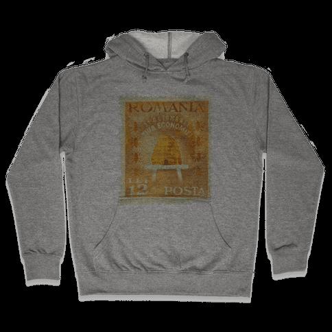 Romanian Bee Stamp Hooded Sweatshirt
