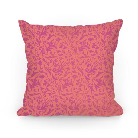 Pink Medieval Flower Pattern Pillow