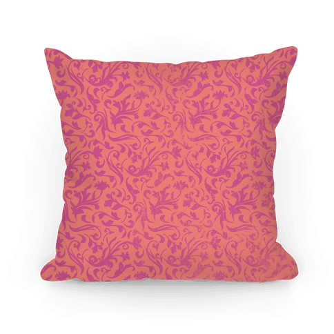 Pink Medieval Flower Pattern Pillow