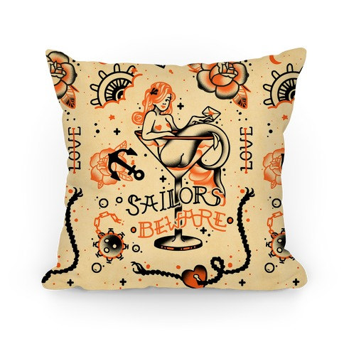 Sailors Beware Classic Tattoo Pillow