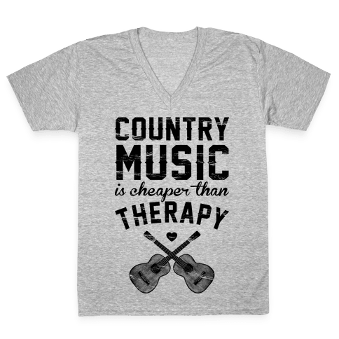 Country Music Therapy V-Neck Tee Shirt