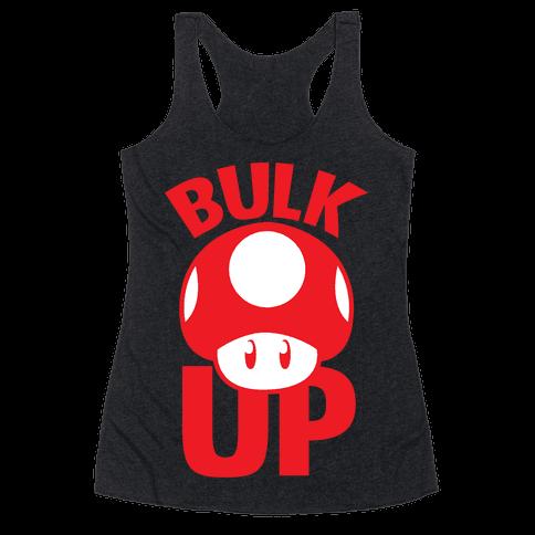 Bulk Up Mushroom ( White Print) Racerback Tank Top