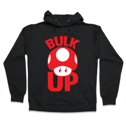 Bulk Up Mushroom ( White Print) Hooded Sweatshirt