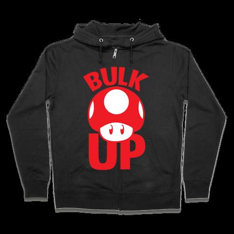 Bulk Up Mushroom ( White Print) Zip Hoodie
