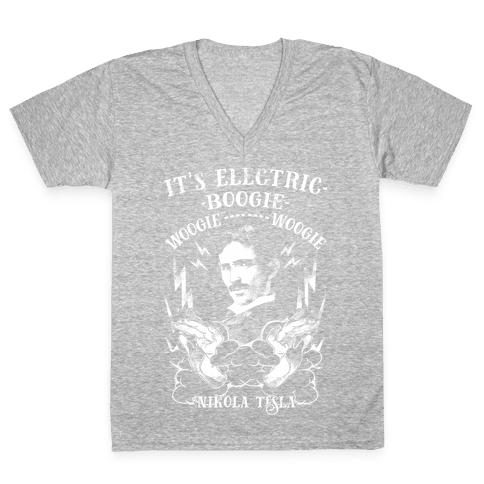 It's Electric Nikola Tesla V-Neck Tee Shirt