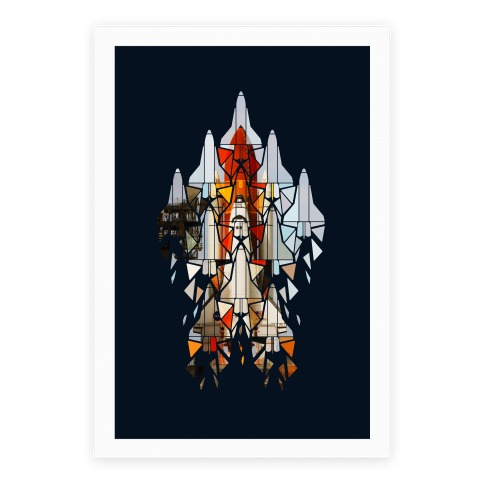 Geometric Space Shuttle Launch Poster
