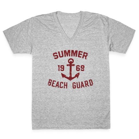 Summer Beach Guard V-Neck Tee Shirt