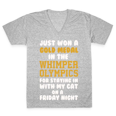Whimper Olympics Gold Medalist V-Neck Tee Shirt