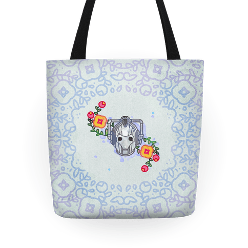 Watercolor Doctor Who Icon (Cyberman) tote