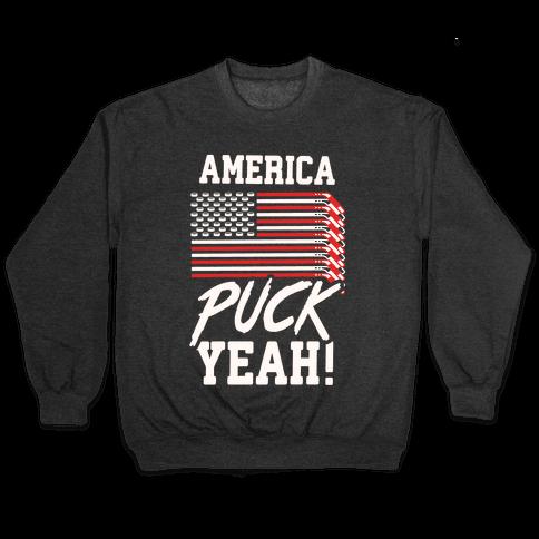 America Puck Yeah Hockey Flag Pullover