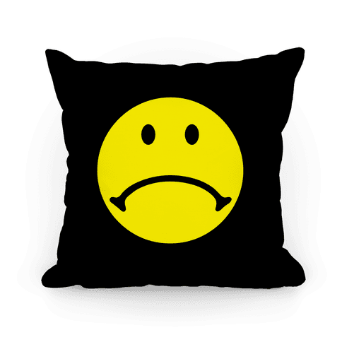 Sad Smiley Face Pillow