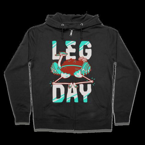 Leg Day Ostrich  Zip Hoodie
