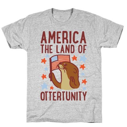 America The Land of Ottertunity Mens T-Shirt