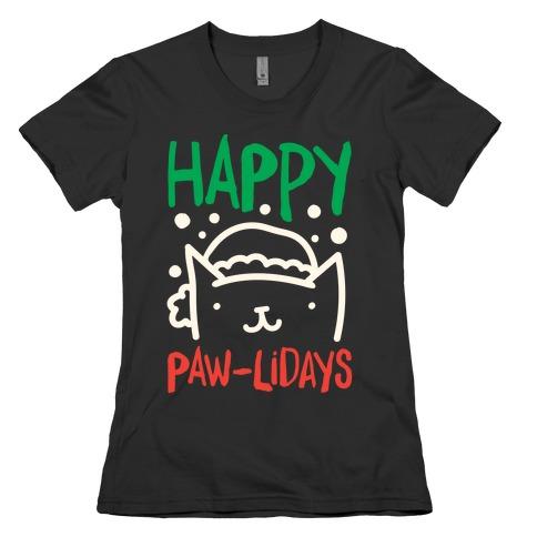Happy Paw-lidays  Womens T-Shirt