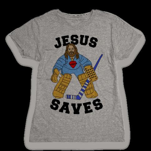 Jesus Saves (Hockey Edition) Womens T-Shirt