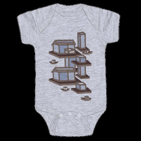 Floating Lantern City Baby Onesy