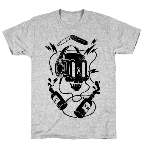 Party Skull Mens T-Shirt