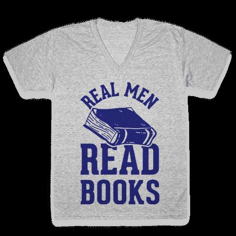 Real Men Read Books V-Neck Tee Shirt