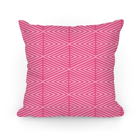 Pink Geometric Diamond Pattern Pillow