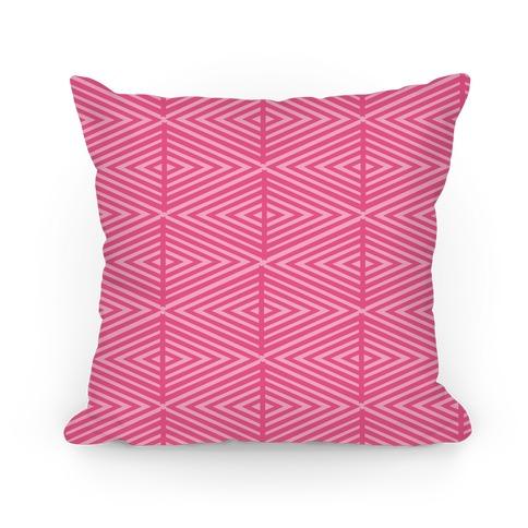 Pink Geometric Diamond Pattern Pillow