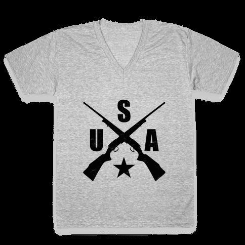 USA Rifles V-Neck Tee Shirt