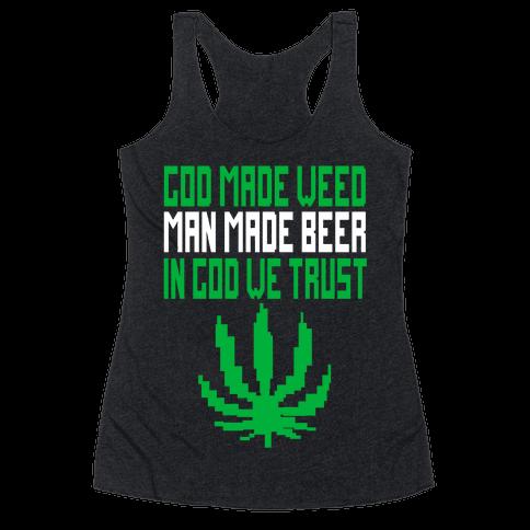 God Made Weed (8bit) Racerback Tank Top
