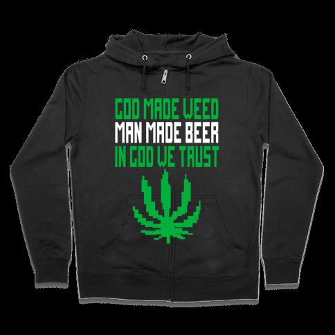 God Made Weed (8bit) Zip Hoodie