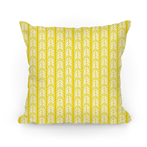 Yellow Chevron Pattern Pillow