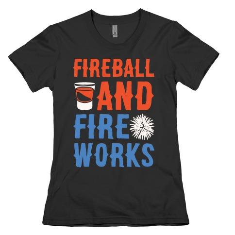 Fireball and Fire Works Womens T-Shirt