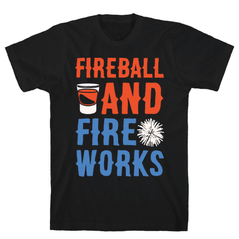 Fireball and Fire Works  Mens T-Shirt