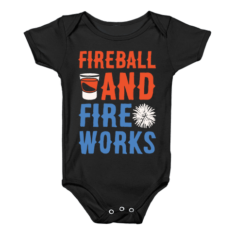 Fireball and Fire Works  Baby Onesy
