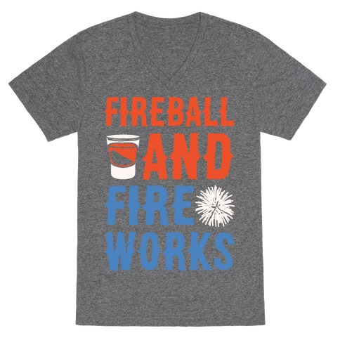 Fireball and Fire Works V-Neck Tee Shirt
