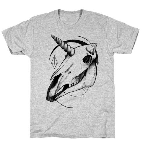 Geometric Occult Unicorn Skull T-Shirt