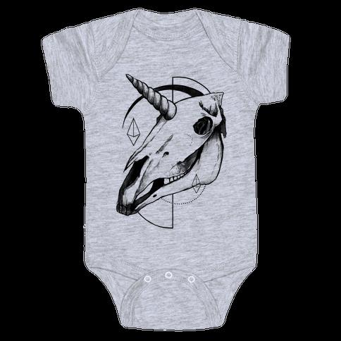 Geometric Occult Unicorn Skull Baby Onesy