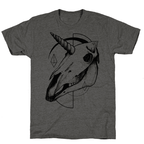 Geometric Occult Unicorn Skull Mens T-Shirt