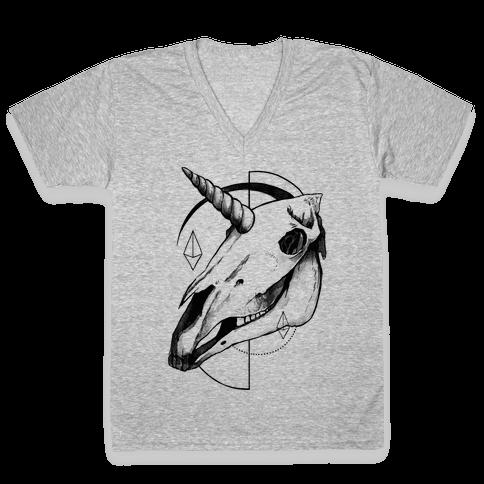 Geometric Occult Unicorn Skull V-Neck Tee Shirt