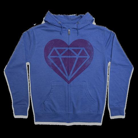 Diamond Heart (Forever) Zip Hoodie