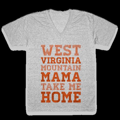 West Virginia, Mountain Mama V-Neck Tee Shirt