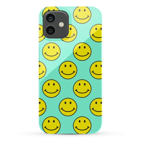 Teal Smiley Face Pattern Phone Case
