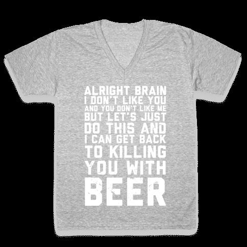 Alright Brain V-Neck Tee Shirt