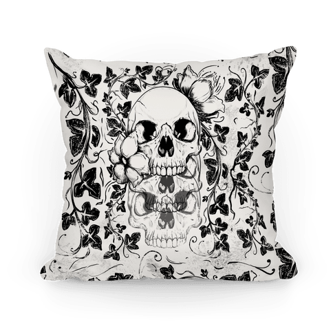 Skull of Vines and Flowers Pillow