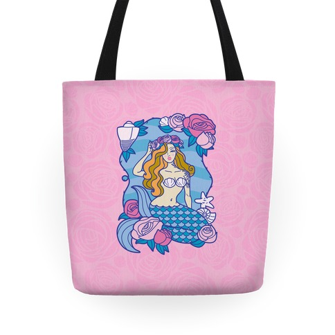 Nautical Tattoo Mermaid Tote