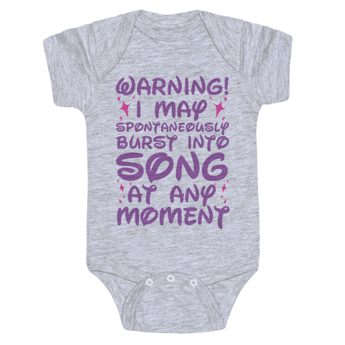 Warning! I May Spontaneously Burst into Song Baby Onesy
