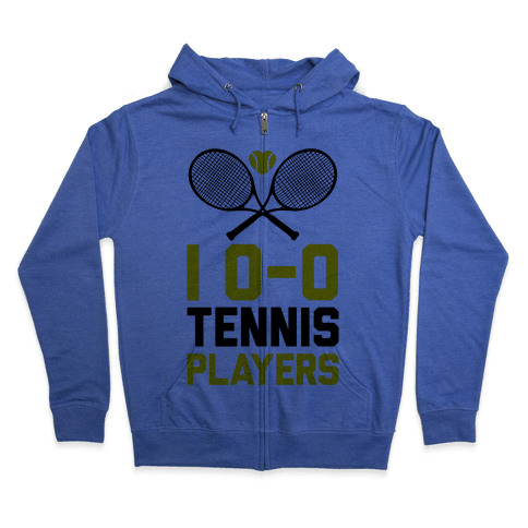 I Love Tennis Players Zip Hoodie
