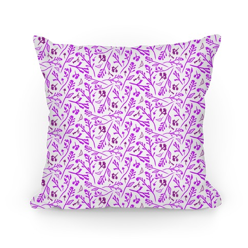 Lovely Wildflower Meadow Purple Pattern Pillow