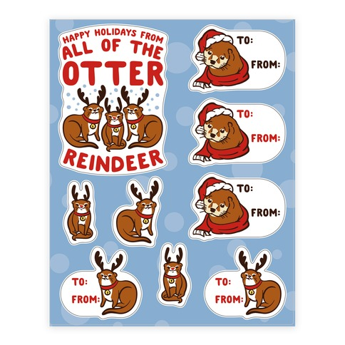 Holiday Otter Gift Tag  Sticker/Decal Sheet