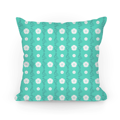 Teal Flowers and Filigree Stripes Pillow